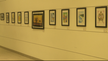 Artwork created by prison inmates on display at Wyoming library