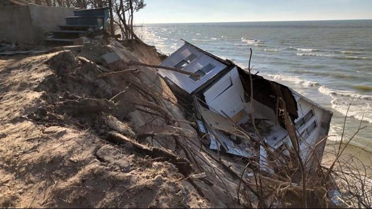Lakeshore house erosion