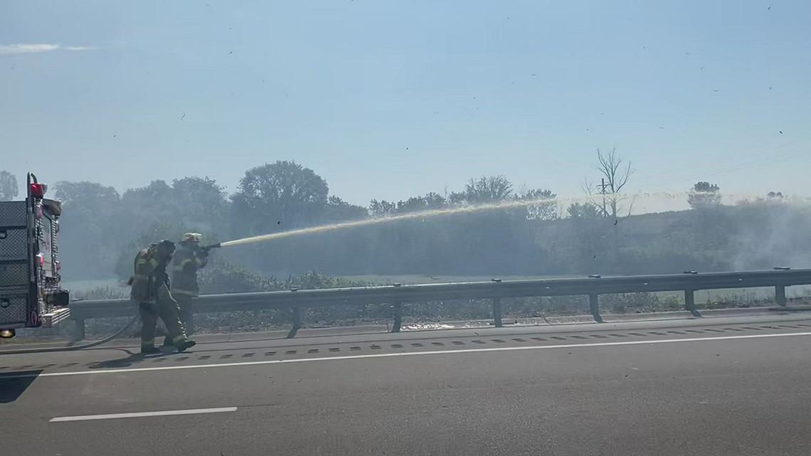 Crews respond to fire along NB I-196