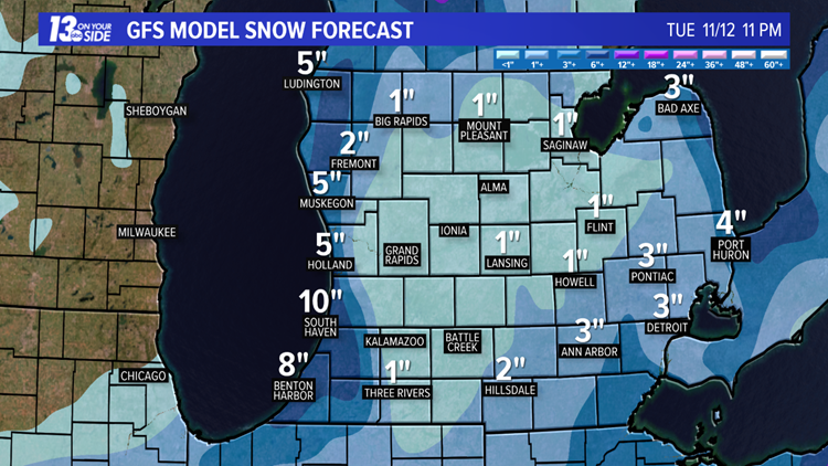 GFS weather model 48-hour snow forecast