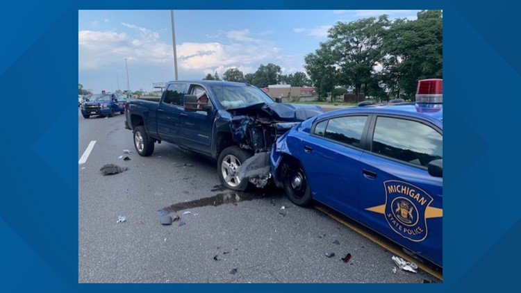 Patrol car rear-ended, causes two crashes