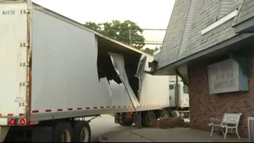 Semi-truck crashes into building in Muskegon