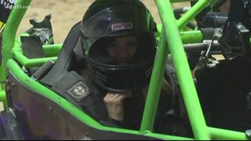 Kristin goes for a ride at Monster Jam