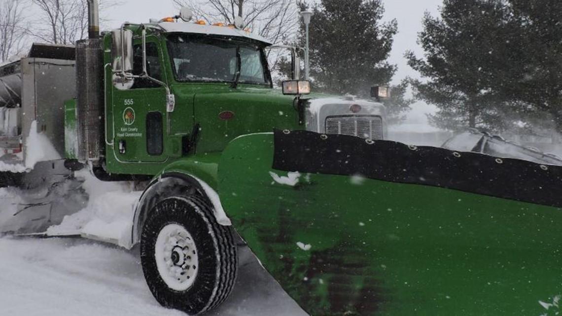 Plow trucks focusing on main roads in Kent County Sunday