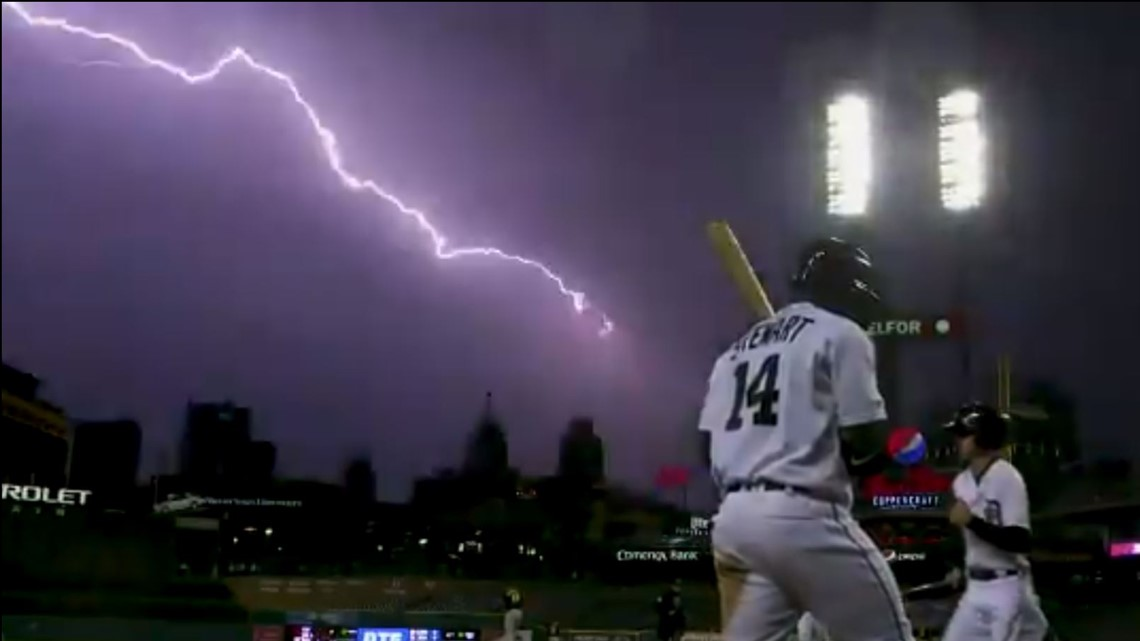 Welcome to the 'light show': Tigers cameraman captures lightning over Comerica Park