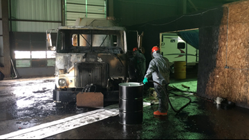 Garbage truck caught fire at  Muskegon Heights storage facility