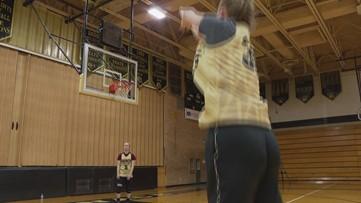 Ella Adams Draining 3-Pointers at Practice.