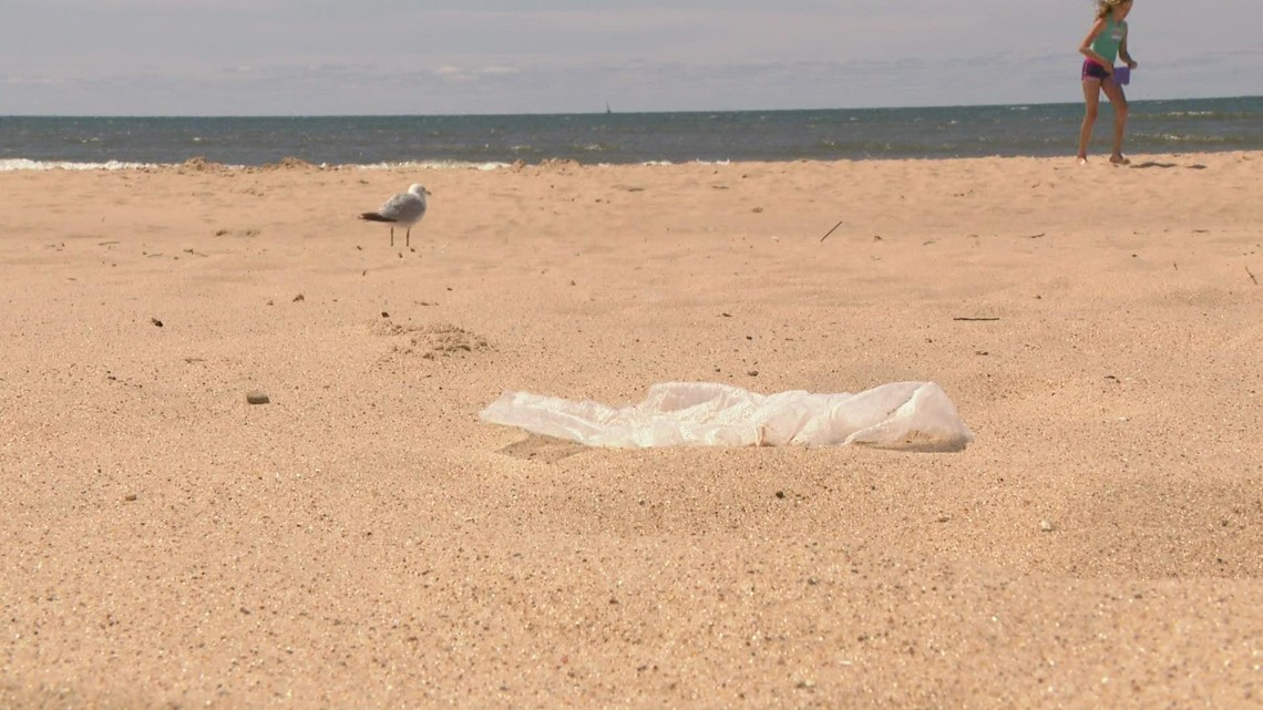 Beachgoers concerned about litter along the shore in Muskegon