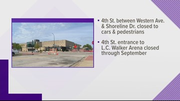 Road closures for Muskegon Convention Center construction