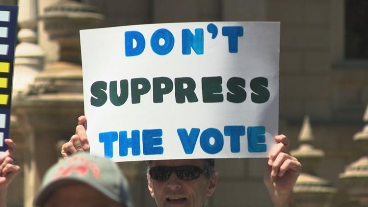 Senior voting advocates rally in Lansing against voter suppression