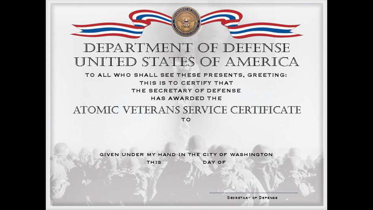 Atomic Veterans Service Certificate