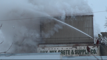 Fire breaks out at concrete business in Walker