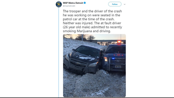 Driver who says he was high strikes state police vehicle