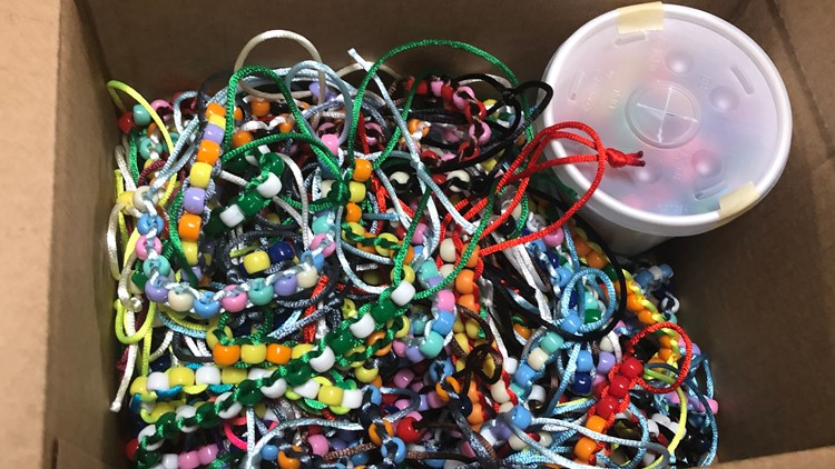 A batch of Brynn's beads to be brought to the hospital.