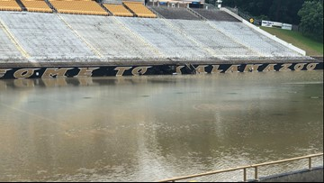 WMU's football field underwater after Kalamazoo is slammed with rain