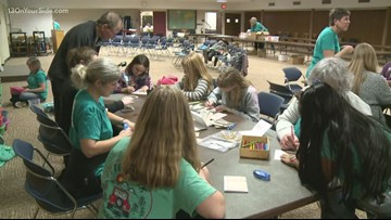 Girls from La Grave Avenue Christian Reformed Church participate in 'Operation Christmas'