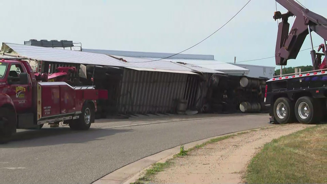 Overturned semi shuts down parts of M-37
