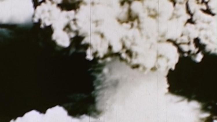 """The """"Baker"""" bomb test sunk ten ships at Bikini Atoll."""