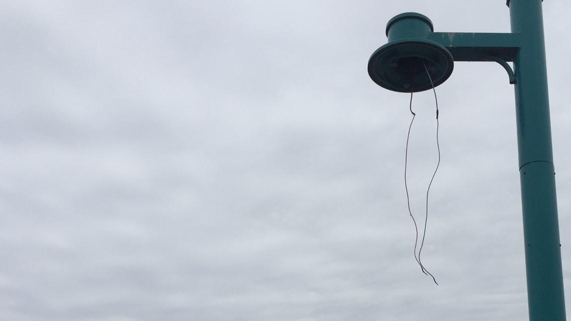 'It is just a shame' | Vandals damage lights at Heritage Landing Park
