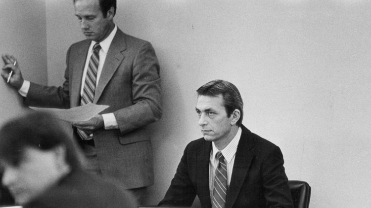 James Dailey (seated) during his 1987 trial for murdering Shelly Boggio.