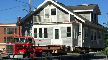 Historic home moved to downtown Muskegon