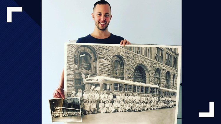 Chris Patterson shows the sketched art he drew of his mother's mysterious photo.